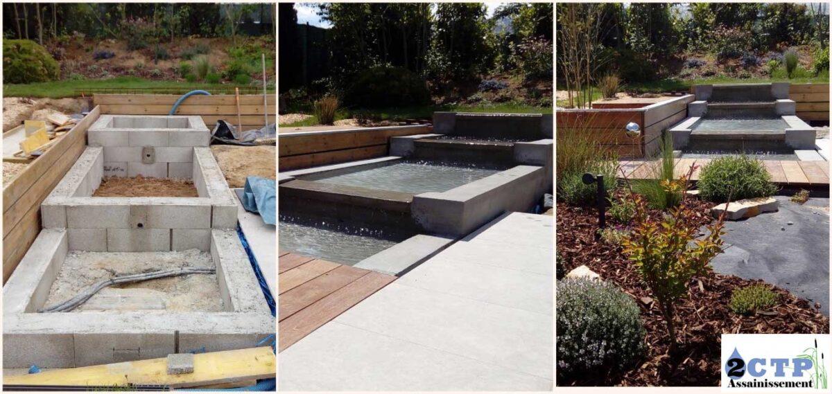 Avant et après mise en place du bassin, intégration parfaite dans le jardin. Effet cascade en escalier fluide. Effet trompe l'œil, l'eau passe sous les lamelles de bois.  Demandes du client respectées.