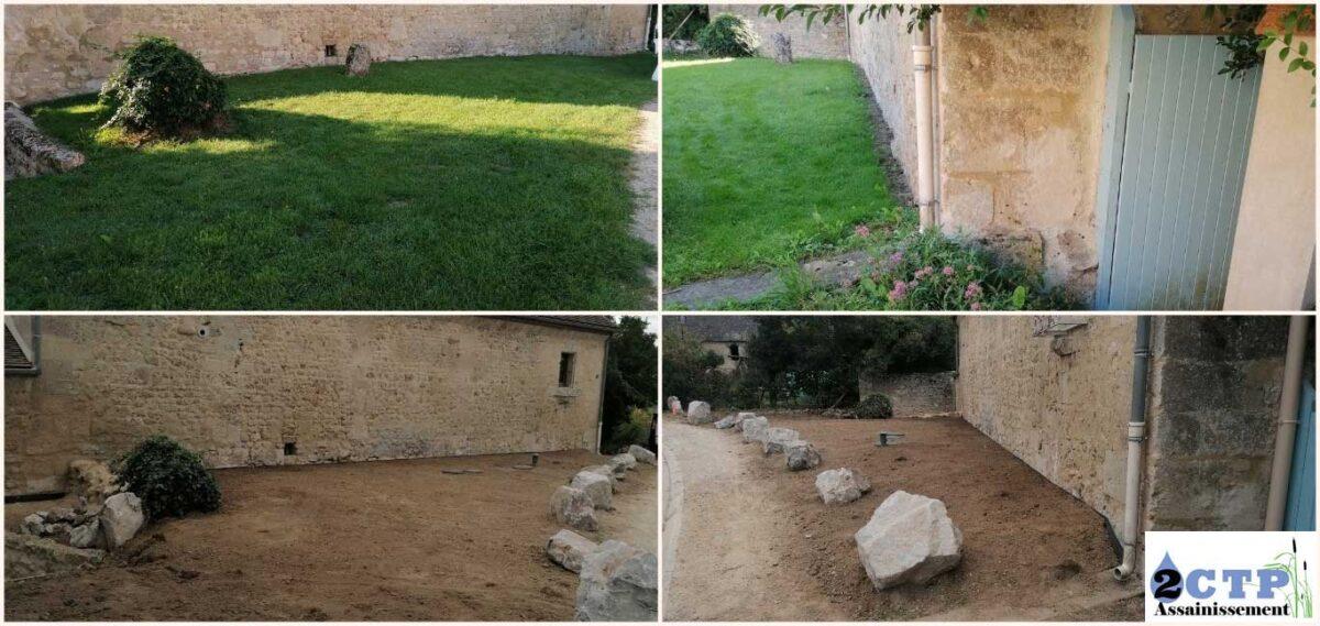 Avant/Après avec respect du terrain. Pause de roches pour protection du filtre compact et délimitation du terrain.